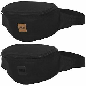 URBAN CLASSICS HIP BAG black Bauchtasche Gürtel Tasche Patch Triple Zip Shoulder
