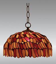 Tiffany Lampe Deckenlampe Hängelampe Pendelleuchte rot orange gelb weiß neu D21L
