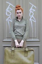 Camicia da donna top maglietta NOS verde olive green 80er True Vintage 80´s Women