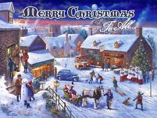 Merry Christmas to All Metal Sign, VintageVillage Holiday Scene, Santa, Carolers