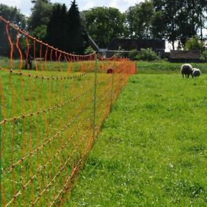 ELECTRIC SHEEP NETTING - 50m Roll Fencing Fence Orange Mesh Built In Posts