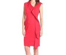 NWT Anne Klein Cap Sleeve Asymmetric Ruffle Front Sheath Dress Red US 10