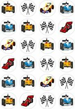 24 Racing Car Cupcake Fairy Cake Toppers Edible Rice Wafer Paper Decorations