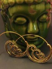 Boho Spiral Tibetan Brass Metal Earring for Pierced Ears