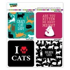 Crazy Cat Lady Kitten Because I Love Cats Fridge Locker Car Vinyl Magnet Set