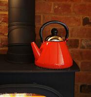 1.9L RED Enamel Stove Top Kettle Woodburner Burner Multi Fuel Fire Aga Rayburn
