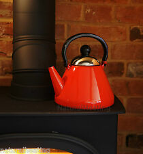1.9L RED Enamel Stove Top Kettle Woodburner Burner Multi Fuel Fire Aga Rayburn