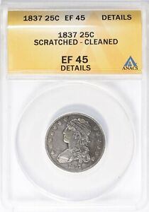 1837 Capped Bust Quarter ANACS XF-45 Details