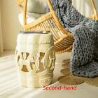 "Secondhand 16"" Modern Ceramic Outdoor Garden Stool Or Indoor Side Table, Khaki"