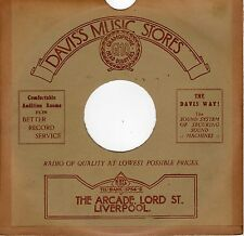 "Vintage record card SLEEVE for 10"" 78 rpm shellac Davis's Music Stores Liverpool"