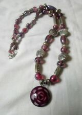 Handmade Purple Glass Bead Murano Style Necklace With Flower Pendant silver bead