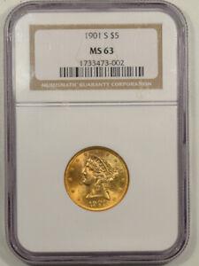 1901-S $5 LIBERTY GOLD HALF EAGLE NGC MS-63, FLASHY & PQ!