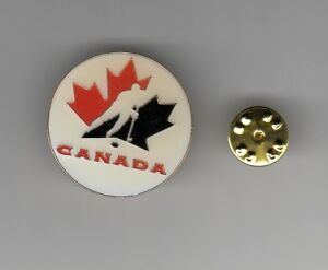 TEAM CANADA Hockey Logo ENAMEL ROUND 1990s METAL HAT LAPEL PIN Men's Women's