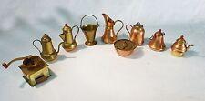 Vintage miniature dollhouse copper tea kettle pots bucket coffee grinder 9 set