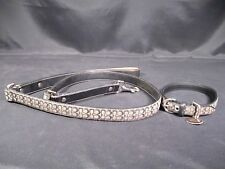 Coach Signature Jacquard Black Leather Dog Collar Medium and Leash Large