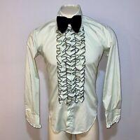Vtg 60s 70s Green Tuxedo Shirt AFTER SIX Ruffles TUX Groovy Prom Mod MENS MEDIUM
