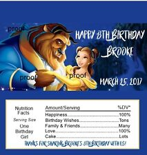 Beauty and the Beast Birthday Candy Bar Wrappers