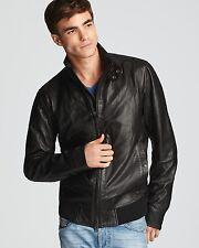 Diesel Men's lermes leather jacket Solid Black color size S