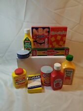 Melissa & Doug Wooden Play Food lot, ketchup, cereal, soup, and more