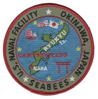 "4"" NAVY NAVAL FACILITY OKINAWA JAPAN CAMP SHIELDS SEABEES EMBROIDERED PATCH"