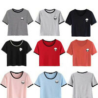 Women's Summer Short Sleeve Tee Blouse Casual Crop Tops Alien Printing T-Shirt