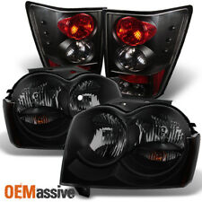 Fit 2005-2006 Jeep Grand Cherokee Black Smoked Headlights+Tail Lights Lamps Pair