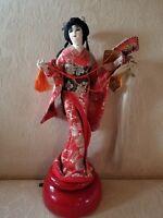 Vintage Yaegaki-Hime doll music box 14 inch NISHI & CO
