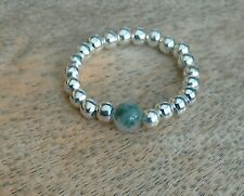 Green Moss Agate Silver Ball Beaded Stretch Ring Gemstone