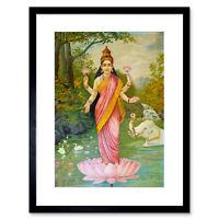 Painting Varma Goddess Lakshmi Framed Art Print 12x16 Inch