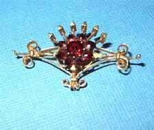 Antique Art Nouveau 14k Gold Bohemian Garnet Crowned Scroll Floral  Brooch Pin