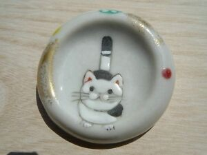 2pcs Cat Neko HASHIOKI japanese chopstick rest Kyo Kiyomizu ware yaki japan