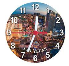 Las Vegas Strip USA Amérique Magnétique Horloge Clock Rond, 11 cm, époxyde VOYAGE SOUVENIR
