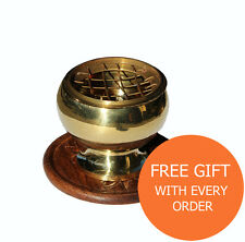 """Brass Charcoal Screen Resin Incense Burner 2"""" with Wooden Coaster & Free Resin"""