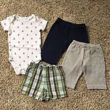 ⚓️ Baby Boy 3 Months LOT Of 4 ~ Pants Shorts One-piece ~ Anchors Nautical EUC 3M