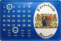 ESTADO LIBRE DE BAVIERA Calendario LETRERO DE METAL EN RELIEVE 20 x 30cm #