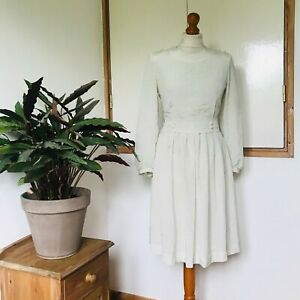 Vtg 90s Japanese Cream Black Polka Dot Print Button Detail Pleated Suit Dress 8