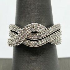 Elegant Sterling Silver 925 CZ Pave Wave Split Bail Swirl Curved Cocktail Ring 7
