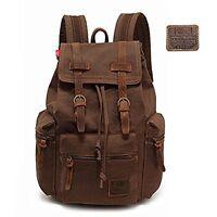 Men Canvas Leather Backpack Rucksack Satchel Travel School Hiking Daypack Bag