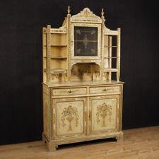 Credenza laccata mobile italiano doppio corpo stile antico legno dipinto dorato