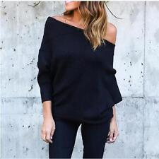Women Fashion Off the Shoulder Long Sleeve Jumper Pullover Baggy Shirt Top ONE