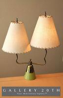 RARE! MID CENTURY MODERN TWO FIBERGLASS SHADES ATOMIC TABLE LAMP! 50'S VTG DECOR