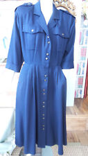 Vintage Dress Navy Military Look By Danny & Nicole Brass look Buttons Size 8