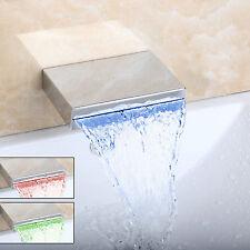 Wall Mounted LED Spout Faucet Waterfall Bath Basin Tub Mixer Tap Chrome Brass