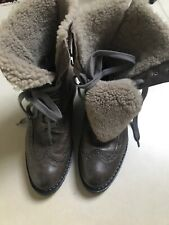 Shearling Ankle Khaki Suede Leather Boots Size 7 Europe40 Excellent Conditions