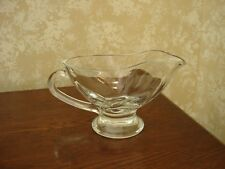 Glass Gravy Dressing Boat Server Heavy Vintage
