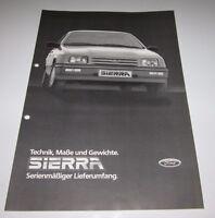 Auto Prospekt Katalog Ford Sierra Technik, Maße und Gewichte