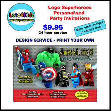 LEGO SUPERHEROES PERSONALISED BIRTHDAY PARTY INVITATIONS PRINT YOUR OWN