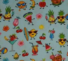 1/2 Yard Tropical Dancing Food 100% Cotton Quilting Fabric Surfboards Beach