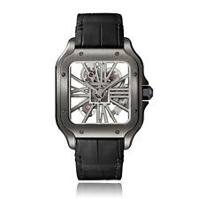 Cartier Santos de Cartier Black DLC Steel Skeleton Manual Watch WHSA0009 2019