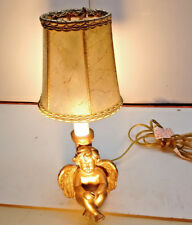 Electric Candle Bronze Coated Baby Angel Figurine Base with Lamp Shade